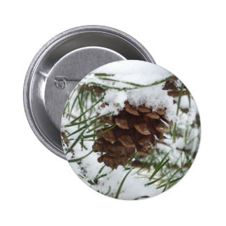 Snowy Pine Cone I Winter Nature Photography Pinback Button