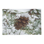 Snowy Pine Cone I Winter Nature Photography Placemat