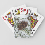 Snowy Pine Cone I Winter Nature Photography Playing Cards
