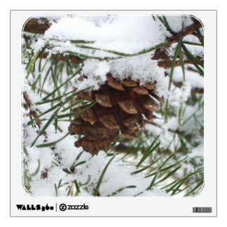 Snowy Pine Cone I Winter Nature Photography Wall Sticker