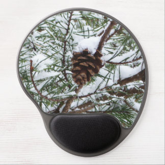 Snowy Pine Cone II Winter Nature Photography Gel Mouse Pad
