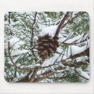 Snowy Pine Cone II Winter Nature Photography Mouse Pad