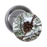 Snowy Pine Cone II Winter Nature Photography Pinback Button