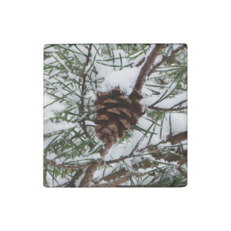 Snowy Pine Cone II Winter Nature Photography Stone Magnet