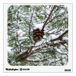 Snowy Pine Cone II Winter Nature Photography Wall Sticker