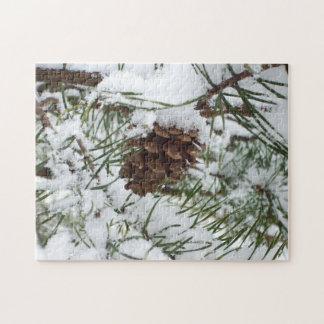 Snowy Pine Cone Puzzle