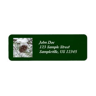 Snowy Pine Cone Return Address Label