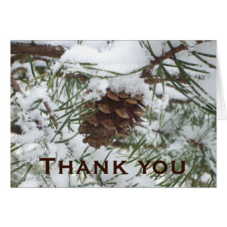 Snowy Pine Cone Thank You Card