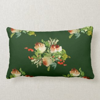 Snowy Pine Cones, Berries Dark Green Lumbar Pillow