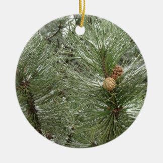 Snowy Pine Cones Ornament