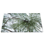 Snowy Pine Needles Green and White Winter Photo Canvas Print