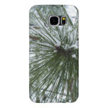 Snowy Pine Needles Green and White Winter Photo Samsung Galaxy S6 Case