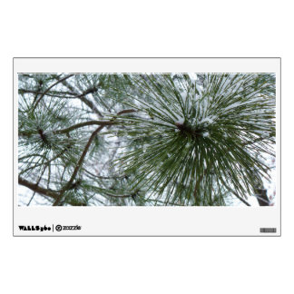 Snowy Pine Needles Green and White Winter Photo Wall Sticker