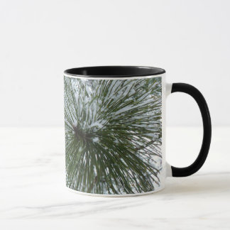 Snowy Pine Needles Winter Nature Photo Mug