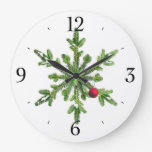 Snowy Pine Snowflake Christmas Clocks