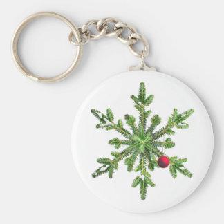 Snowy Pine Snowflake Christmas Keychain