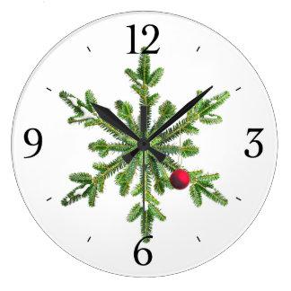 Snowy Pine Snowflake Christmas Large Clock
