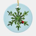 Snowy Pine Snowflake Christmas Ornaments