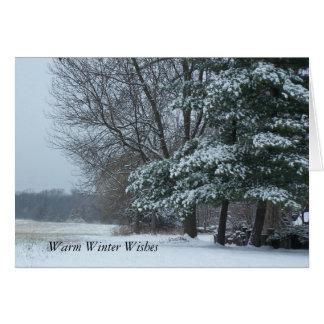 Snowy Pine Tree, Warm Winter Wishes Card