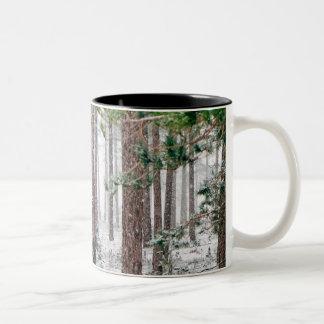 Snowy Pine trees Two-Tone Coffee Mug