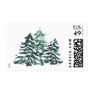 Snowy Pine Trees Watercolor Postage Stamp