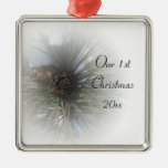 Snowy Pines 1st Christmas Together Christmas Tree Ornaments