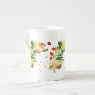 Snowy Pines and Red Berries Bone China Mug