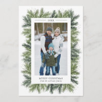 Snowy Pines Christmas Photo Card
