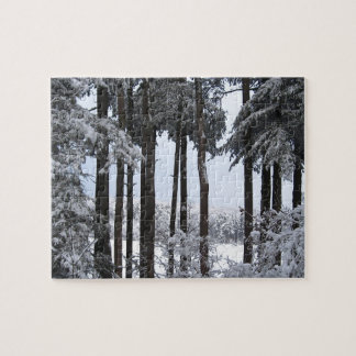 Snowy Pines in Blue Light Jigsaw Puzzle