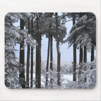 Snowy Pines in Blue Light --- Mouse Pad
