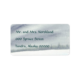 Snowy Pines Painting Label