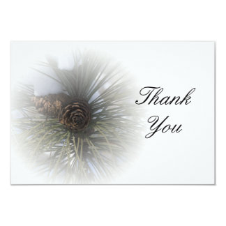 Snowy Pines Thank You Flat Note Card Personalized Invite