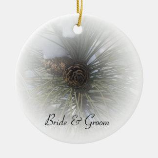 Snowy Pines Winter Wedding Ceramic Ornament