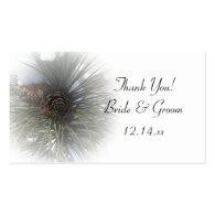 Snowy Pines Winter Wedding Favor Tags Business Card Template