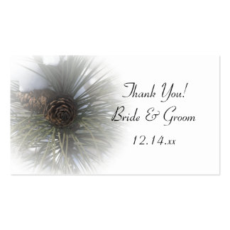 Snowy Pines Winter Wedding Favor Tags Double-Sided Standard Business Cards (Pack Of 100)