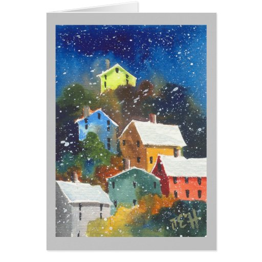 Snowy Pittsburgh Hillside Houses Card
