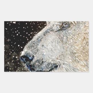Snowy Polar bear Rectangular Sticker