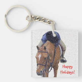 Snowy Pony Holiday Keychain