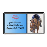 Snowy Pony Holiday Personalized Shipping Label