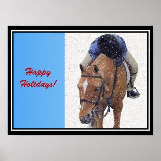 Snowy Pony Holiday Poster