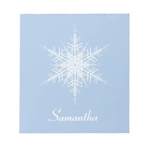 Snowy Powder Blue Snowflake Notepad