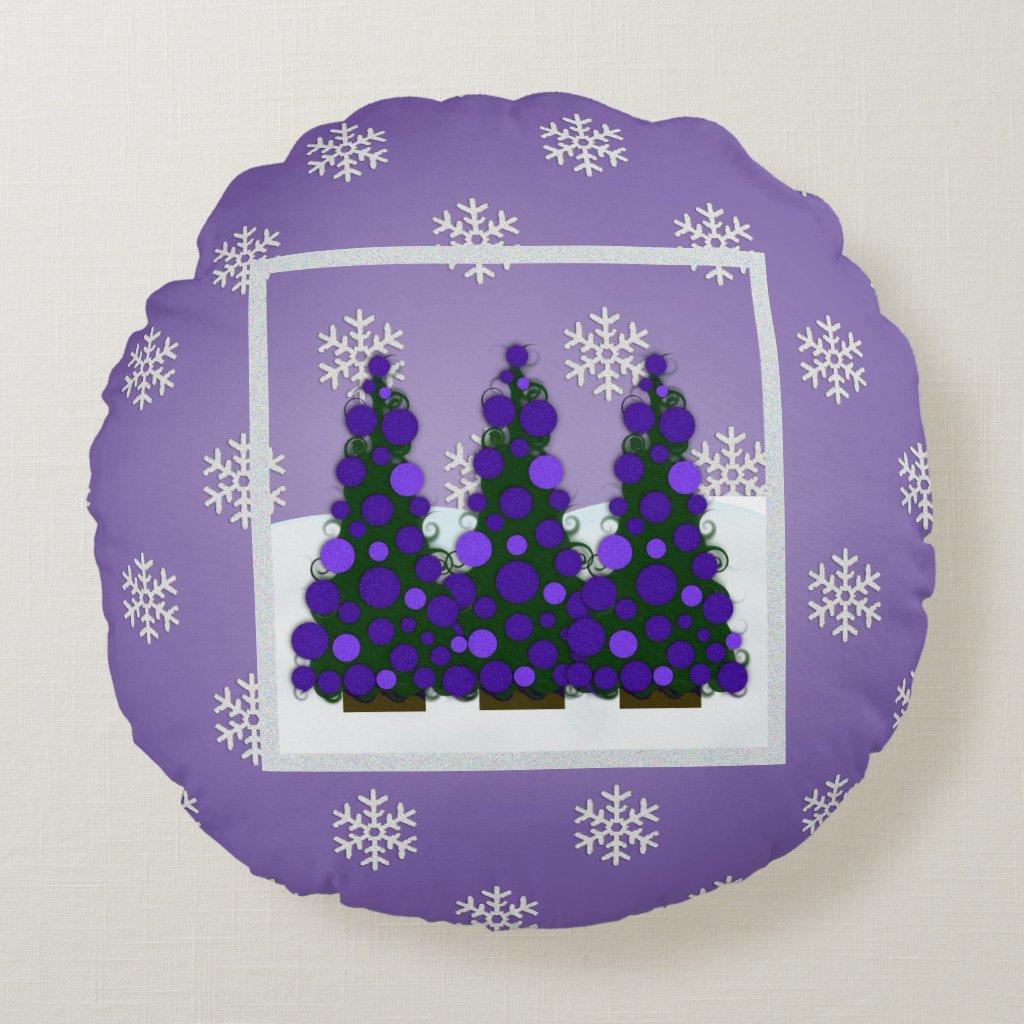 Snowy Purple Christmas Tree Round Pillow