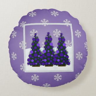 Snowy Purple Christmas Tree Round Pillow