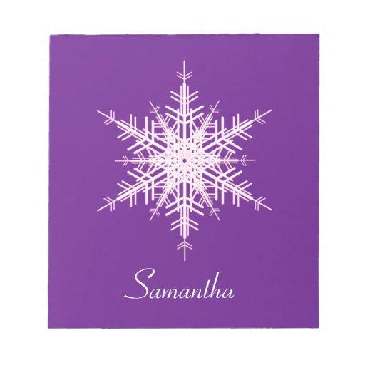 Snowy Purple Snowflake Notepad