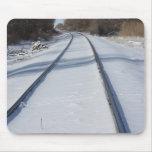 Snowy Railroad Track Mousepad