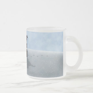 Snowy Raindeer Night Frosted Glass Coffee Mug