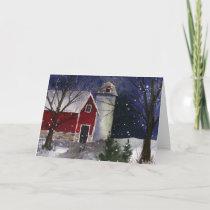 Snowy Red Barn Greeting Card