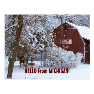 SNOWY RED BARN, HELLO from MICHIGAN! Postcard