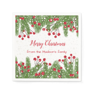 Snowy red berries, pine Christmas Paper Napkin