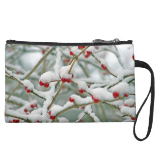Snowy Red Berries Winter Scene Suede Wristlet Wallet